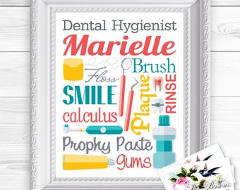 """24 hr Turnaround: You Download & Print Personalized / Custom Gift Dental Hygienist, Dental Assistant, Technician Art Sign 8x10"""" Any Name"""