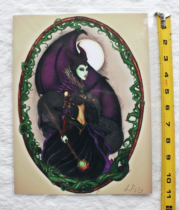 The Magnificent Maleficent Fantasy Art Print By Teresa Ringering Limited Edition Fairytale Artwork Evil Sorceress Villain