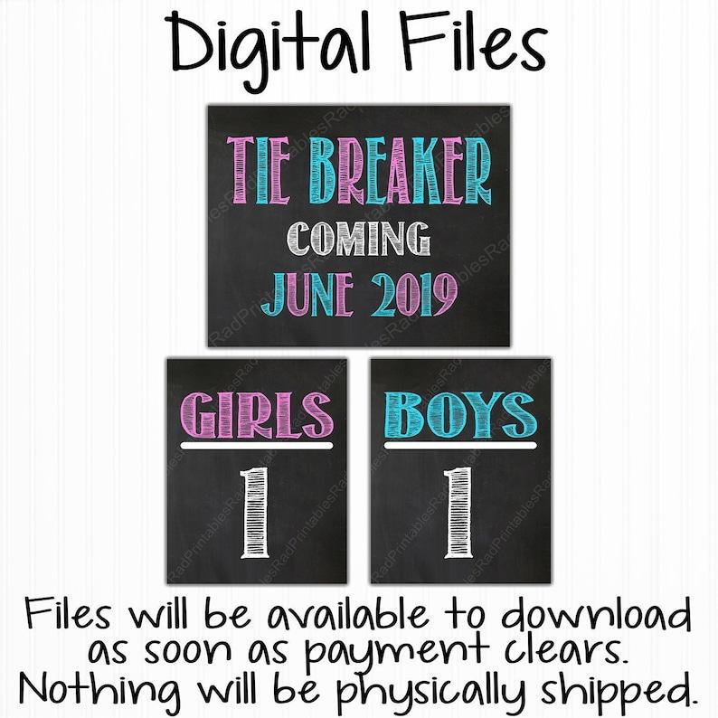 Tie Breaker Pregnancy Announcement Chalkboard Sign Girls vs Boys Digital Printable Chalkboard File Due June 2019 Pink or Blue