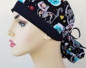 Ponytail scrub hat, ponytail surgical scrub hat, scrub cap, surgical scrub hat for women, cat sugar skull ponytail scrub cap, scrub hat