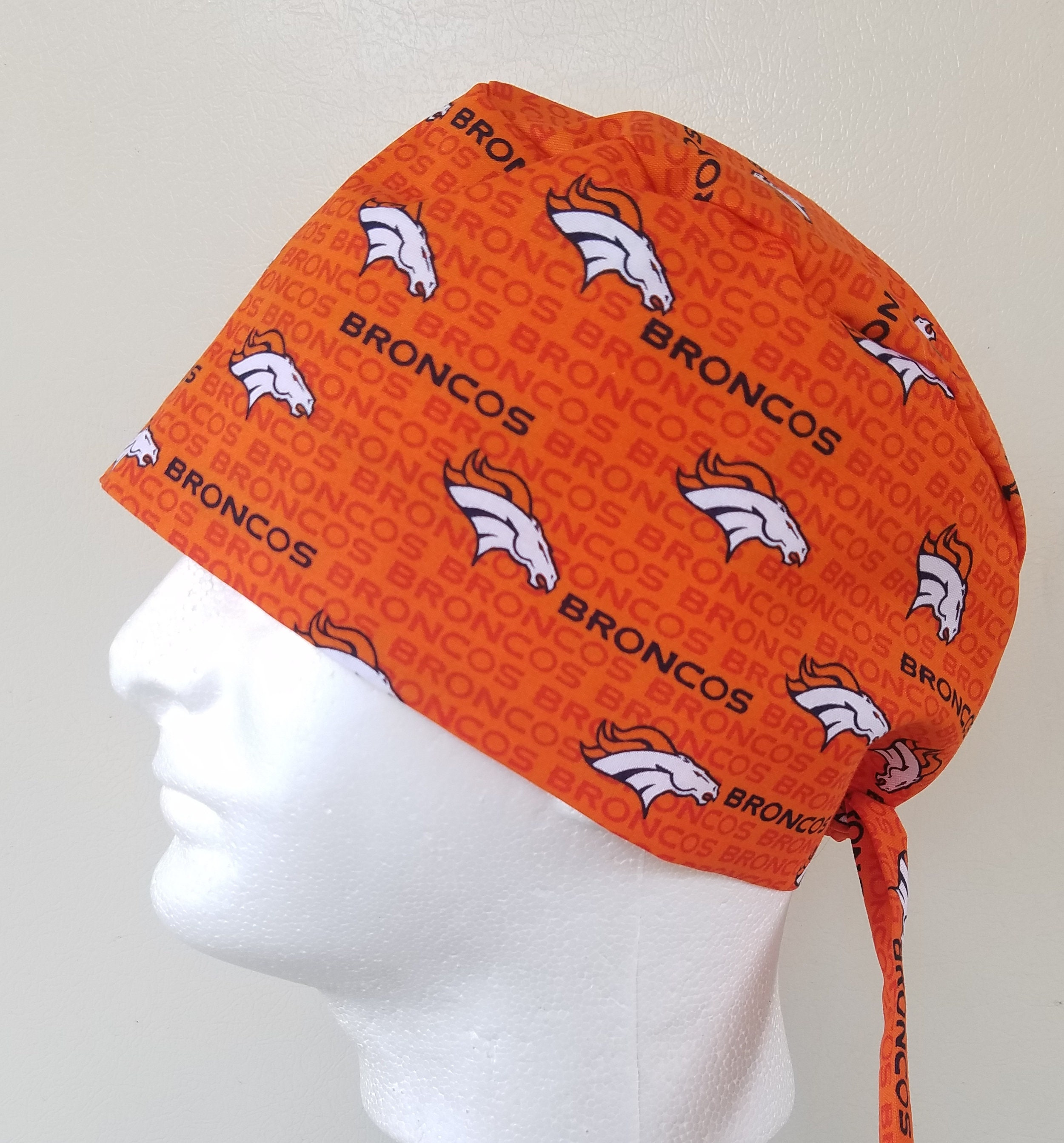 0750188ed Denver Broncos scrub hat, Mens surgical tie back scrub hat, scrub ...
