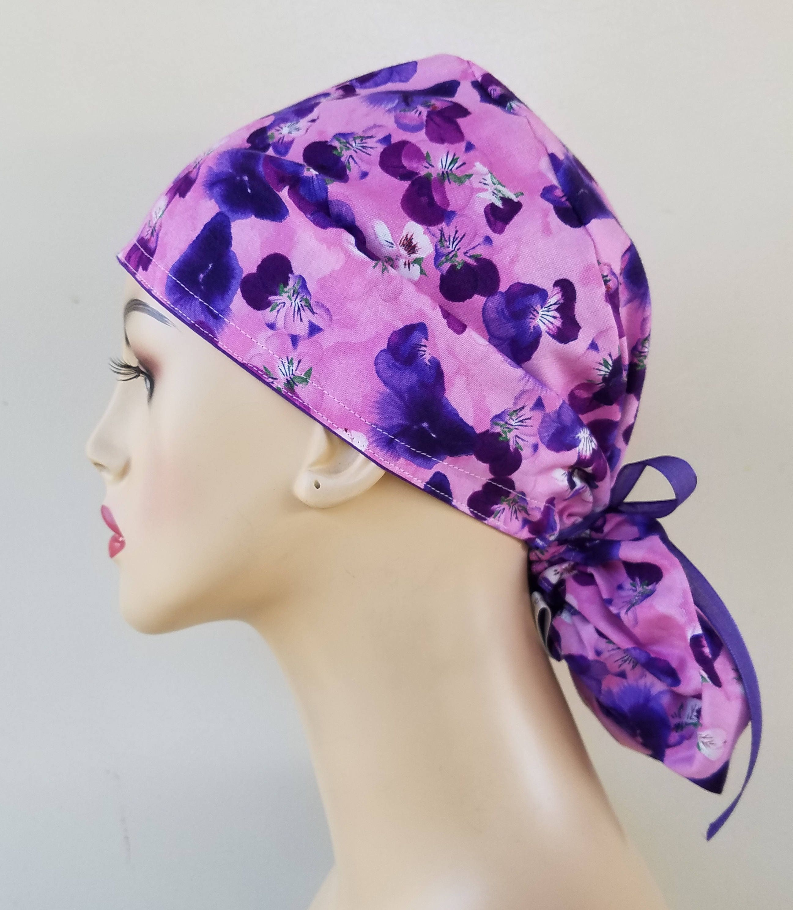 ... pink and purple ponytail scrub cap afb1ca76095e