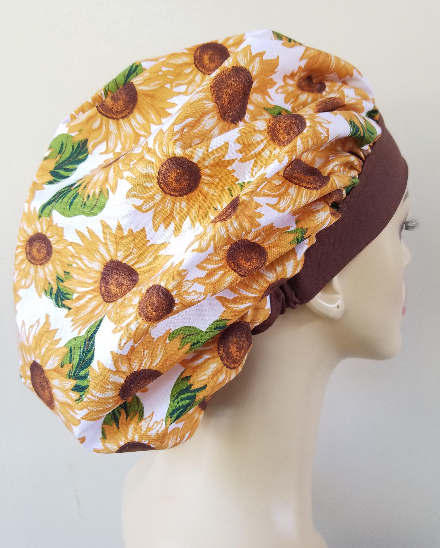 Sunflower Surgical Hat Bonnet with elastic Bouffant Scrub Hat