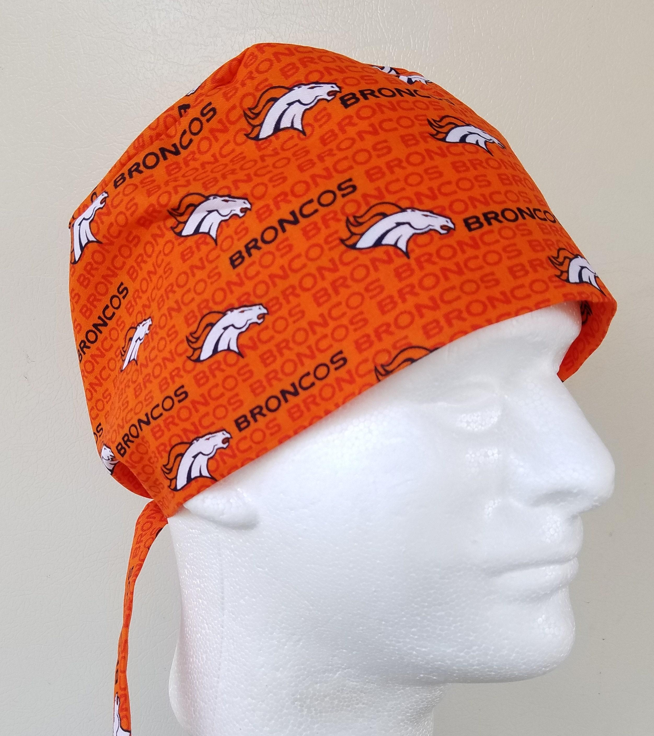 d80b304a1 Denver Broncos scrub hat, Mens surgical tie back scrub hat, scrub cap ...