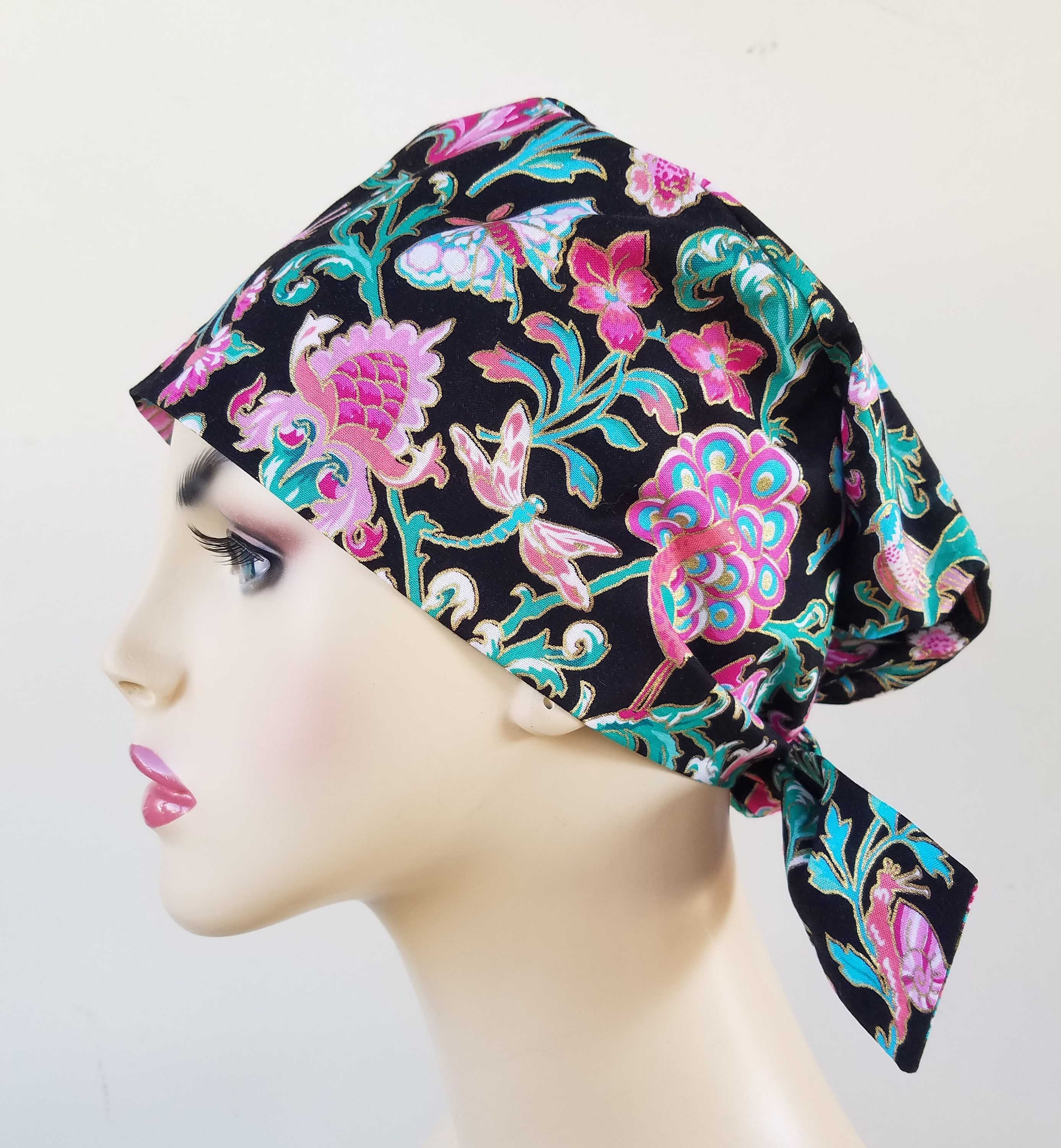 Womans pixie tie back scrub hat ef6ca357924