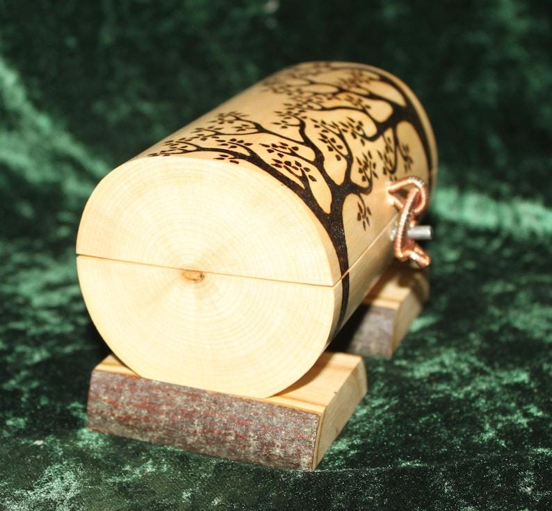 Lined w blue velvet Woodburned box Jewelry Chest Pyrography jewelry box. Wire wrapped latch Celtic jewelry box Woodland elf log box