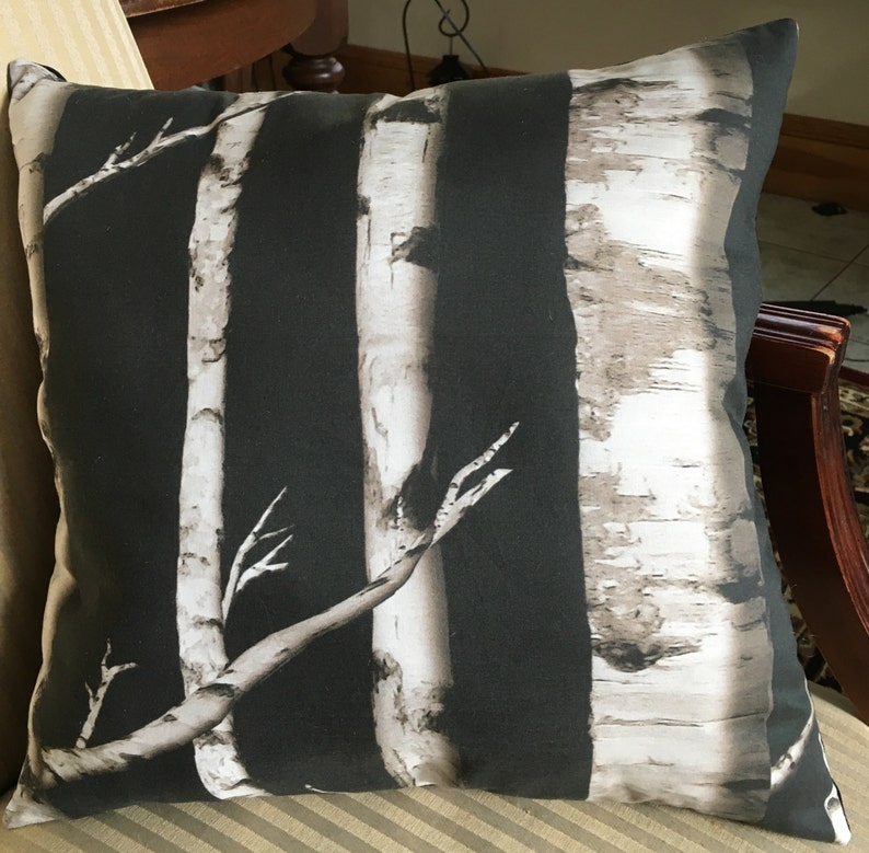 Marvelous Throw Pillow Couch Pillow Featuring White Birch Trees At Night 16 By 16 Inches Forskolin Free Trial Chair Design Images Forskolin Free Trialorg