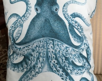 Octopus Pillow,aqua and cream,17 by 12 inches,100% cotton, aquabacking.