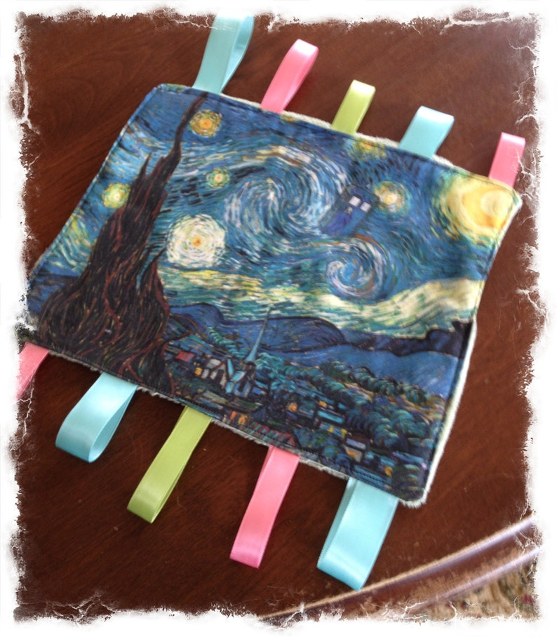 Who baby tag blanket Dr A Starry Night with Tardis