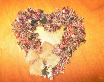 Handmade Heart shaped Rag Wreath