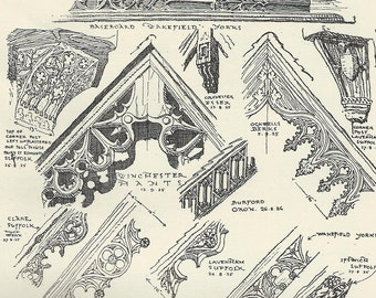 tudor gothic sketches leaded glass wrought iron fittings bargeboard details