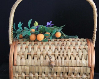 Vintage Wicker Basket/Purse Made in Spain From the 60's