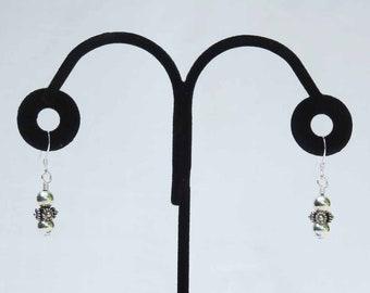 Sterling Silver Dot & Rope Design Earrings