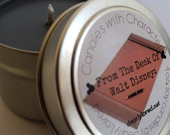 NEW!  From the Desk Of Walt Disney: - Disney Scented   Candles with Character - 4 oz.   Disneyland   Soy Wax Candle   Hand Poured