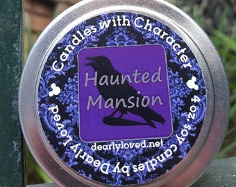 HAUNTED MANSION - Disney Scented   Candles with Character - 4 oz.   Soy Wax Candle   Hand Poured    Wedding Favors   Gift   Travel Tin