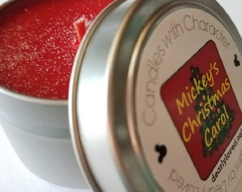 MICKEY'S CHRISTMAS CAROL - Disney Scented   Candles with Character - 4 oz. (Seasonal)   Soy Wax   Hand Poured   Holiday   Gift