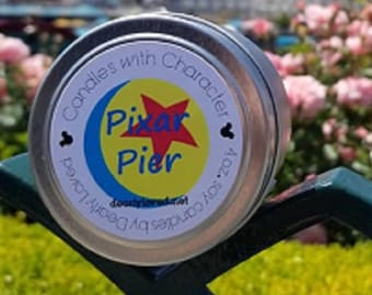 PIXAR PIER - Disney Scented   Candles with Character - 4 oz.   Boardwalk   Cotton Candy   Soy Wax Candle   Hand Poured    Wedding Favors