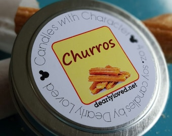 CHURROS - Disney Scented   Candles with Character - 4 oz.   Main Street   Soy Wax Candle   Hand Poured   Wedding Favors   Gift   Travel Tin