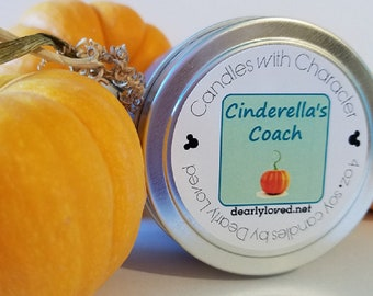 CINDERELLA'S COACH - Disney Scented   Candles with Character - 4 oz. (Seasonal)    Soy Wax Candle   Hand Poured   Holiday   Fall   Pumpkin
