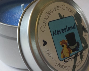 NEVERLAND - Disney Scented   Candles with Character - 4 oz.    Peter Pan   Soy Wax Candle   Hand Poured    Wedding Favors   Gift
