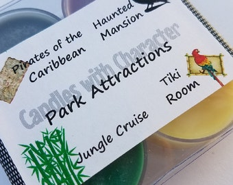 PARK ATTRACTIONS - Disney Scented   Candles with Character   Tea Lights   Soy Wax Candle   Hand Poured    Wedding Favors   Gift
