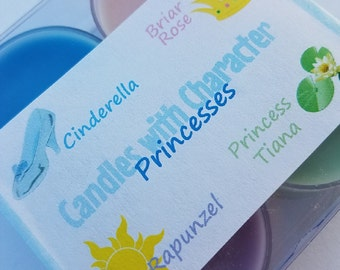 PRINCESSES - Disney Scented   Candles with Character   Tea Lights   Soy Wax Candle   Hand Poured   Wedding Favors   Gift