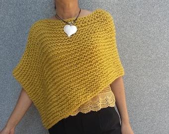 95741e468 Mustard yellow poncho,Wool poncho,Knit poncho, Short ponchos, loose knit  poncho for women