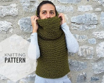 9b77ab42 Chunky cowl vest Pattern - Hooded vest pattern - Easy to knit pattern  -Beginner Pattern-Instant Download- knitting patterns for women