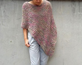 Loose knit Poncho Knit poncho Spring summer poncho mohair poncho soft pastel multicolor poncho