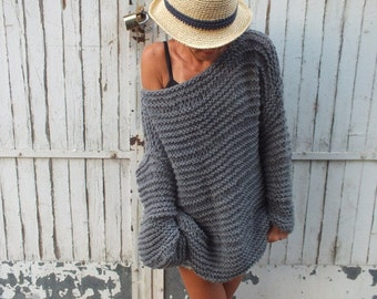 Off the shoulder sweater/Gray sweater / chunky wool sweater/ handknit sweater/ Oversized Sweater/ Loose knit sweater