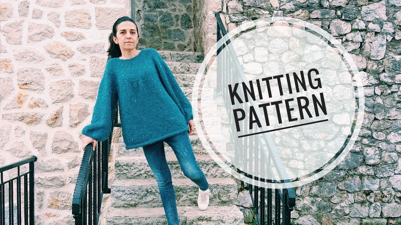 Knitting Pattern Easy Knit Sweater Easy Sweater Pattern Etsy