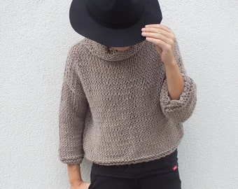 Cropped sweater Tan sweater Women sweater Handknit  sweater Soft wool sweater