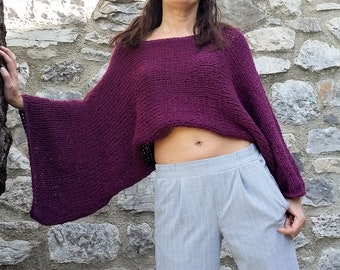 Off the shoulder sweater Purple sweater Cropped sweater shrug Wool sweater poncho knitted sweater  Gift for wife Gift for daughter