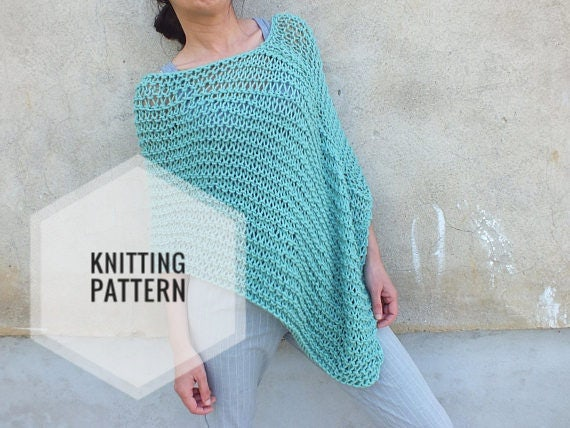 Poncho Patternbeginner Patternknitting Pattern Poncho Loose Etsy