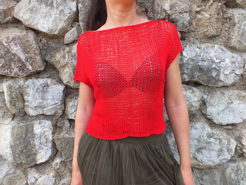 Women top sweater Red top sweater Gift for wife Loose knit Knit Crop top Summer viscose top Knit top