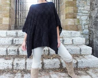 Black Poncho Oversized poncho Pattern knitted poncho Wool poncho Handknit poncho Boho chic