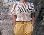 Boho top, Sweater top, Loose sweater top,Crop top sweater , Cotton top, Boho chic,Bohemian top tank,Beach coverup, Beach clothing