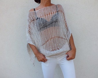 Loose sweater oatmeal sweater summer cotton coverup summer boho chic sweater