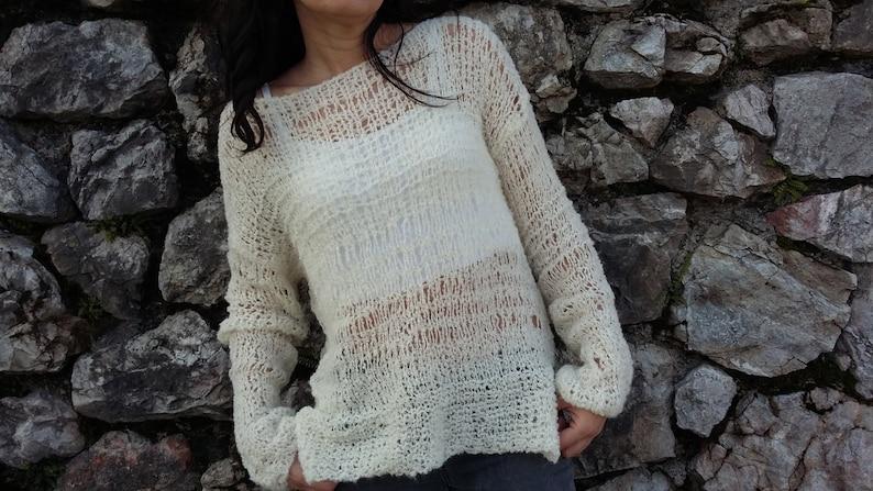 lightweight sweater alpaca wool fluffy swater loose knit sweater Ivory sweater