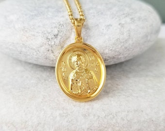Sterling Silver Medalion Saint Spyridon Necklace Pendant Orthodox SP1