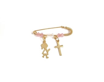 9K Yellow Solid Gold .Baptism Gift.Good Luck and Protection Charm 9K Saint Mary /& Jesus Theotokos Cross Baby Kid Pin Brooch
