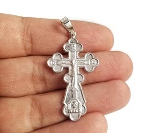 Russian Cross XS007 Sterling Silver Cross Greek Cross Catholic Cross Orthodox Cross Silver Crusifix Cross Necklace Cross Pendant