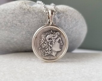925 Silver Alexander The Great Greek Macedonian Pendant Ancient Greek Macedonian Coin Medallion.