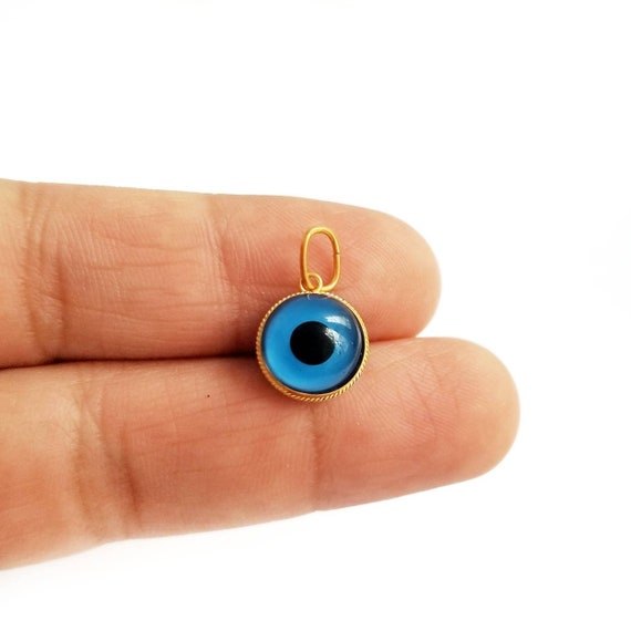 925 Sterling Silver Greek Evil Eye Gold Plated Pendant Blue Murano Evil Eye.Good Luck and Protection Charm
