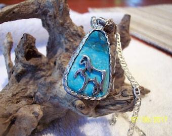 Unique Kingman Turquoise Sterling Necklace.