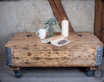 Rustic Coffee Table With Storage   Factory Cart Table On Wheels   Industrial  Chic Trunk Table   Trunk On Casters   Loft Style   Vintage Wood