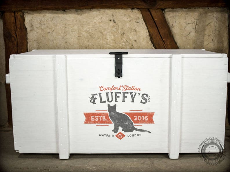individual pet name /& date personalized storage for kitty litter and litter pan vintage style customized Custom cat litter box trunk