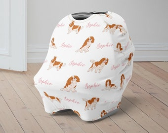 Personalized Car Seat Canopy for Boys Girls Baby Shower Gift Custom Baby Car Seat Cover Cavalier King Charles Spaniel Baby Carseat Canopy