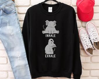 78ad91f4100ea Inhale Exhale Baby Elephant Sweatshirt