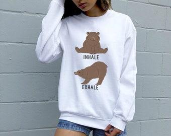 0e4b65b17a Inhale Exhale Grizzly bear Sweatshirt, Yoga Animal Hoodie, Funny Unisex  Animal Crewneck Sweatshirts, Brown Bear Sweater, Bear Yoga Gift